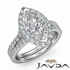 Marquise Diamond Engagement Halo Pre-Set Ring GIA G SI1 Clarity Platinum 2.36 ct