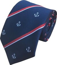 FREE POCKET SQUARE Royal Navy Regiment Woven Anchor Motif Tie Made In GB