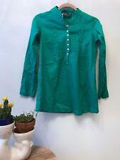 NWT Akkriti India Cotton Green Tunic Shirt Long Sleeve Pleats and Buttons SZ XS