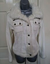 JACKET 16 44 LARGE L WHITE CORDUROY FAUX FUR AUTUMN WINTER CROPPED WOMEN