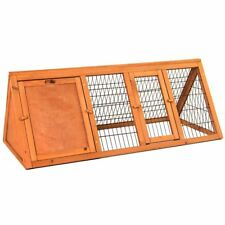 Pet Rabbit Hutch Triangle Wooden Cage Guinea Pig Bunny Run Animal House Large