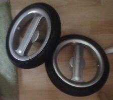 Pair of Silver Cross Surf Pram Rear Back Wheel Black Tyre Axle x 2