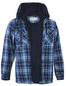 Mens Hooded Fleece Lined Shirt Lumberjack Work Jacket Check S-2XL
