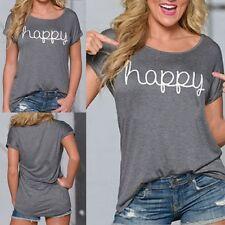 Lady Loose Short Sleeve Cotton Casual Blouse Shirt Tops Fashion Summer T-shirt