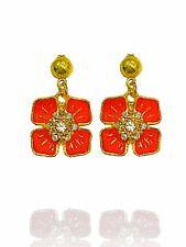 Luxury Gold  & Red Rhinestones Poppy Flower Symbolic Stud Earrings E1303