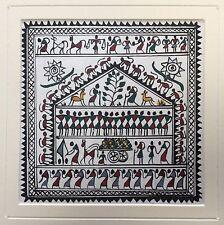 ORIGINALE INDIANO DIPINTO Saura Warli fatto a mano Tribal Folk Art
