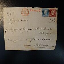 N°14 N°17 DEVANT DE LETTRE CHARGÉ GROS POINTS CAD BUREAU CENTRAL PARIS PR VIENNE