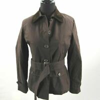 Ralph Lauren Field Jacket Womens Petites Small Brown Belted Flannel Lined Barn