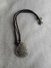 Silpada brown leather & 925 cord necklace & carved & pierced MOP pendant N1446