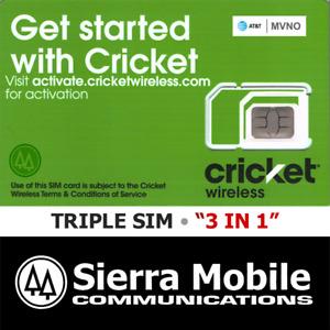 2x CRICKET WIRELESS NANO Sim Card 4FF • GSM 4G LTE ATT • WITH TRACKING • NEW