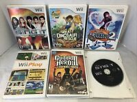 Lot Of 6 Nintendo Wii Games, Wii Play, Guitar Hero, Sing It, Go Diego go & More!