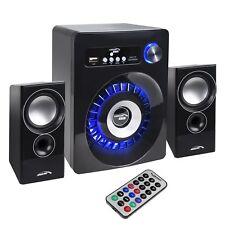 PC Bluetooth Speakers 2.1 Subwoofer Computer Laptop AUX SD FM USB LED Lighting
