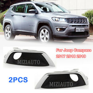 For Jeep Compass 2017 2018 2019 Front Bumper Fog Light Cover Frame Trim Pair