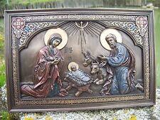 30192   JESUS CHRIST  DIEU VIERGE  STATUE NATIVITE MURALE POSER  STYLE    BRONZE