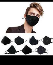 4 pcs Reusable face mask cotton. BLACK Air-valve. 8 PM2.5 filters. AUSTRALIA