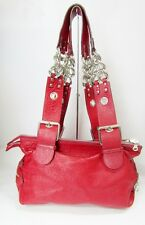 NEW Chloe Buckle Red Grain Leather Shoulder Bag Silver Chain Zippers Hardware