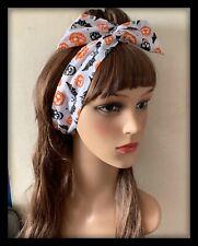 Halloween Skulls Headband Bandana Hairband Hair Bow Tie Band Bendy Wire Pumpkin