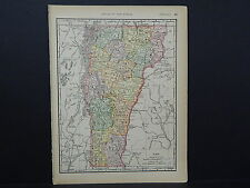 Antique Map 1894, Single Sided M4#84 Vermont