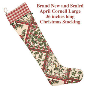 Christmas - April Cornell Stocking, Holiday Sampler Ecru - Brand New, Sealed