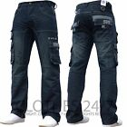 NEUF pour hommes ENZO Designer foncé CARGO COMBAT jeans toutes tailles & jambes