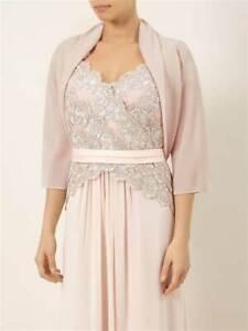 Jacques Vert Nude Pink Beige? Chiffon Trim Bolero Shrug size 10 UK Wedding