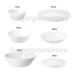 White dinner Plates Bowls Side Sandwich Dessert Cereal Crockery Oftast SET OF 4