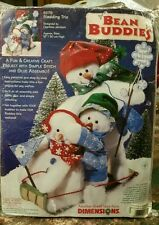 Dimensions Bean Buddies Sledding Trio #62176 Craft Project Kit New Snowmen Wintr