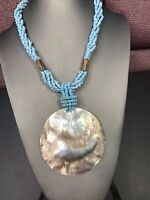 """Bohemian turquoise seed bead Large Shell Mother Of Pearl  pendant necklace 18"""""""