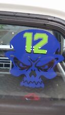 Seahawks Skull 12 sticker/decal 4x4 Green 12 Blue skull NEW NICE
