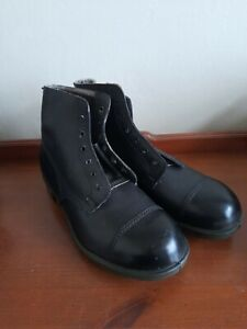 Vintage Black Leather Army Boots, Size 11. Military 1976