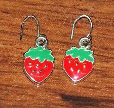 Toddlers / Children Butterfly Drop Dangle Small Strawberry Dangle Earrings READ