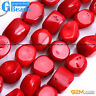 Freefrom Nugget Red Coral Gemstone Beads For Jewelry Making Free Shipping 15""