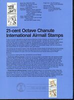 USPS 1979 First Day Issue Souvenir Page, 21-cent Octave Chanute International