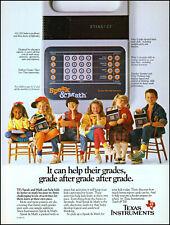 1987 Six school kids Texas Instruments speak & math retro photo print ad ads43