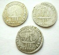 Württemberg 3 x 3 Kreuzer 1808,1809 und 1810 Friedrich I. 1806-1816, 3 Stück