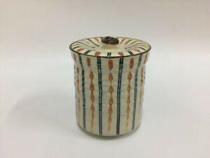 T0101 Japanese Pottery Fresh Water Pot Mizusashi Vintage Signed Tea Ceremony