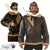 Biggles Wartime WW2 Fighter Pilot Fancy Dress Costume Jacket Hat Scarf & Goggles