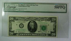 1963 A $20 Twenty Dollar FRN *Star* Note Fr. 2066-E Legacy 58 PPQ Better