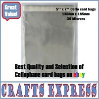 500 Quality 5' X 7' Cello Cellophane Greeting Card Bags Self Seal FREE UK POST