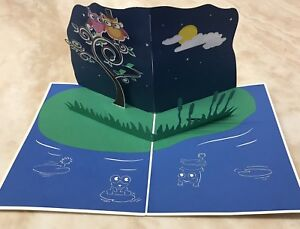 3X - 3D POP Up Anniversary Owls Greetings Card ( Pack of 3)