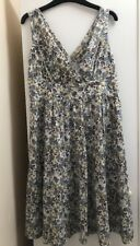 TU Grey Brown Cream Yellow Ditsy Floral Tea Dress Knee Length Size 8