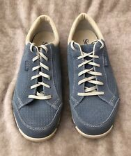 Simple Womens Sneakers Size 12 Classic Sneakers Blue Suede Lace Up Walking Shoes