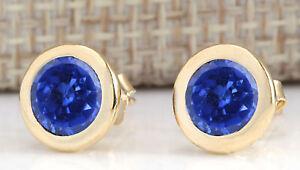 100% Natural Blue Tanzanite 2.00CT 14KT Yellow Gold Round Shape Wedding Studs