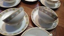 Noritake China 5 Tea Cup & 6 Saucer set Celtic? Design Nippon Green Wreath Japan