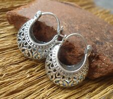925 Sterling Silver-Il64-Balinese Hand Made Hope Earring Traditional Style