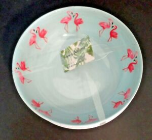 """4 Tommy Bahama Melamine Blue 7"""" Bowls Pink Flamingo Palm Tropical Outdoor New"""
