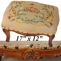 "Antique Edwardian Era Louis XV 17"" Floral Needlepoint & Carved Walnut Footstool"