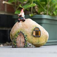 Light Up LED Magic Fairy Garden Gnome House Outdoor Ornament Accessories Decor
