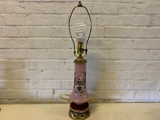 Antique Bristol Pink Glass Lamp with Swan Enamel Decorations