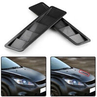 2Pcs/Set Car Carbon Fiber Look Style Hood Vent Louver Cooling Panel Trim